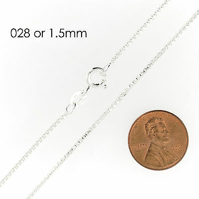 925 Sterling Silver BOX Chain Necklace All Sizes Stamped .925 Italy 6