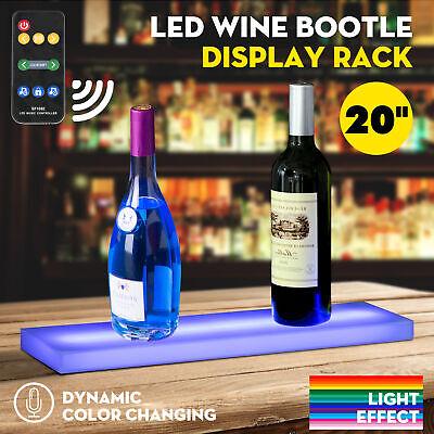 "20\"" Music-Activated LED Lighted Bar Liquor Display Shelf Rack Wine Bottle Stand 3"