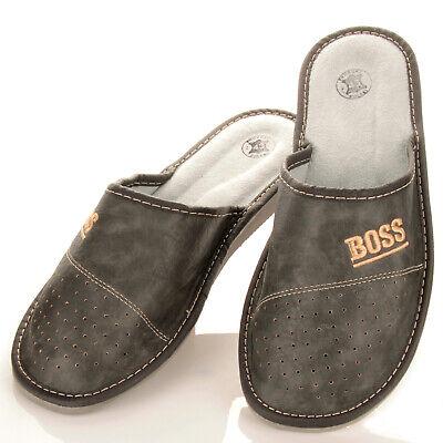 """Herren """"BOSS"""" Hausschuhe aus LEDER Pantoffeln Latschen Pantoletten Gr. 32-50 NEU 9"""