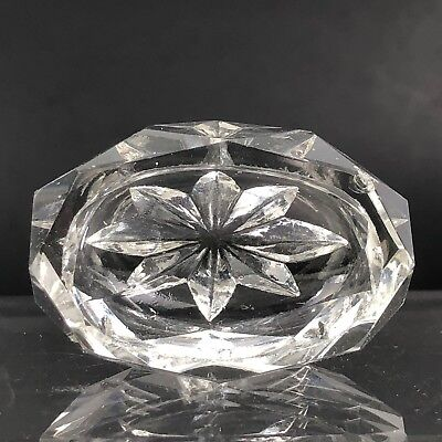 VTG Antique Open Salt Cellar Clear Crystal Glass Cut Open Dish Faceted Diamond 3