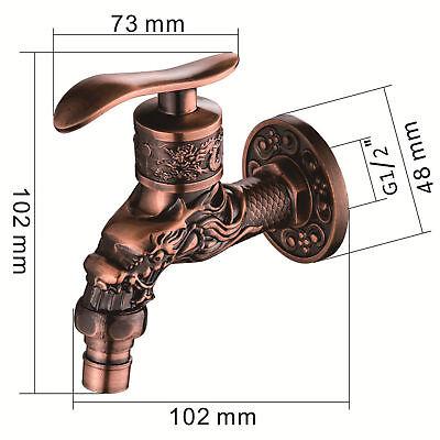 Brass Outdoor Garden Faucet Dragon Carving Tap Spigot Bibcock Art Decor Vintage
