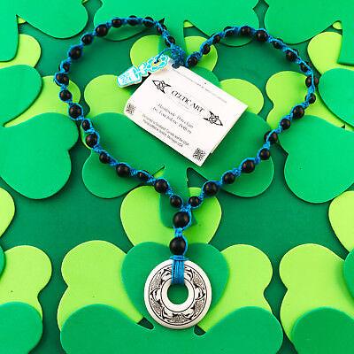 HOTI Hemp Handmade Celtic Nehalennia Dolphins Annulus Beaded Turquoise Necklace 4