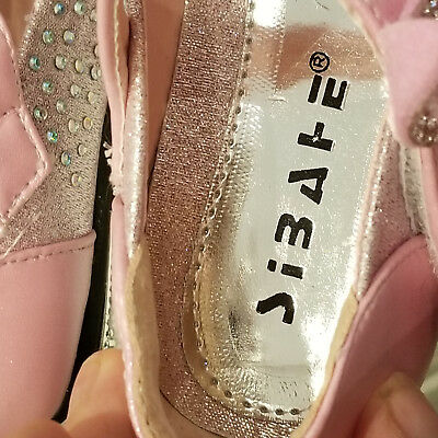 GIRLS PARTY SHOES - size 29 Pink with lots and lots of Crystals - Velcro Fasten 4