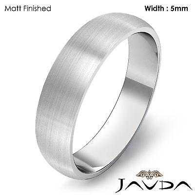 ecf45a8d3da9e 5MM 14K WHITE Gold Dome Plain Polish Women Wedding Band Ring 4.4gm Size 6 -  6.75