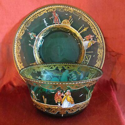 Antique Italian Glass Set Bowl & Under-Plate Hand Painted Enamel & Gold Amazing 11