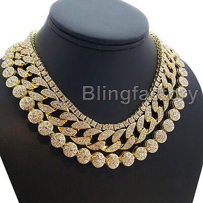 """Hip Hop Iced Gold PT 18"""" Cuban & Flower & 1 Row Tennis Choker Chain Necklace 2"""