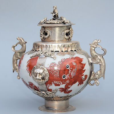 Collect Old Miao Silver Armour Porcelain Hand-Carved Monkey & Dragon Luck Censer 2