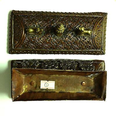 Antique Tibetan Art Box + Lid Metal Symbol Medalion Traditional RARE Collectable 7
