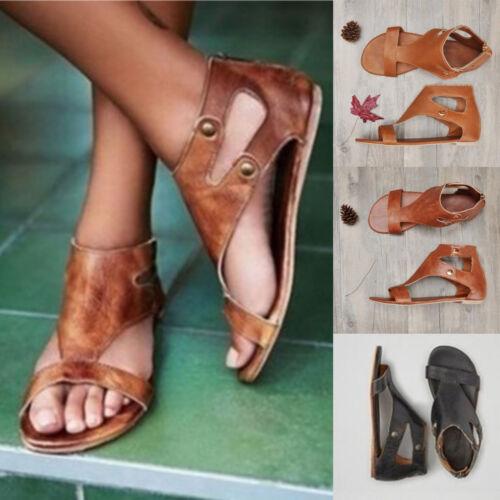 Women/'s Flat Sandals Open Toe Elastica Flexible Gladiator Casual Summer Shoes