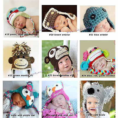 New Baby Boy Girl Crochet Beanie Costume Hat 0-3, 3-6, 6-12M,1-3Yrs Photo Props 4