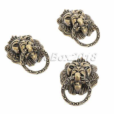 6x Vintage Brass Lion Head Drawer Cupboard Cabinet Dresser Ring Pull Handle Knob 3