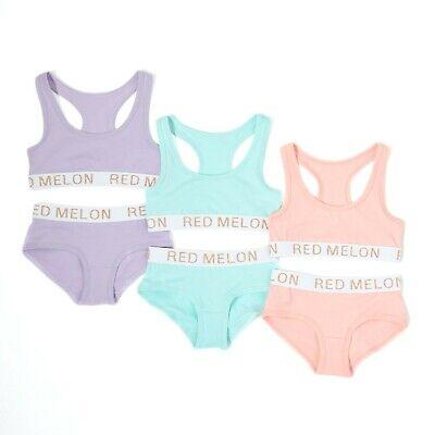 Young Girls Cotton Crop Top & Brief Underwear 2 Piece Set Size Age 7 to 13 3