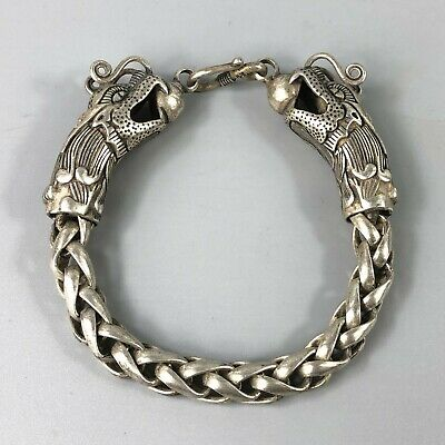 Exquisite Chinese Rare Collectible Tibet Silver Handwork Dragon Amulet Bracelet 2