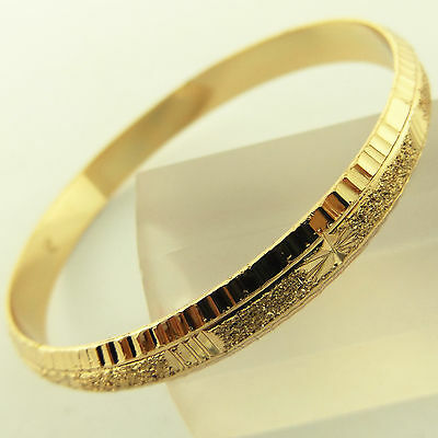 Bangle Bracelet Real 18k Yellow G/F Gold Solid Antique Engraved Cuff Design 4