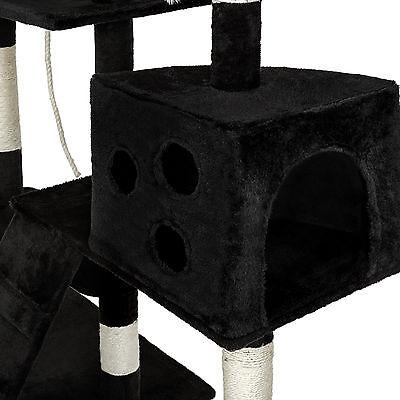 Arbre à chat xxl griffoir grattoir geant avec 2 grottes noir 2
