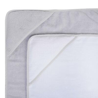 2 x Hooded Baby Towel Soft 100% Cotton Bath Wrap, Grey & White 3