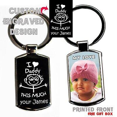 Personalised Custom Metal Keyring Photo Printed & Engraving on back Free Giftbox 4