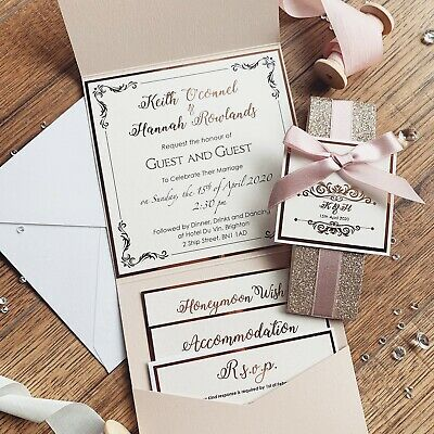 Rose Gold Nude Blush Pink Luxury Glitter Pocketfold Wedding Invitation *Sample* 10