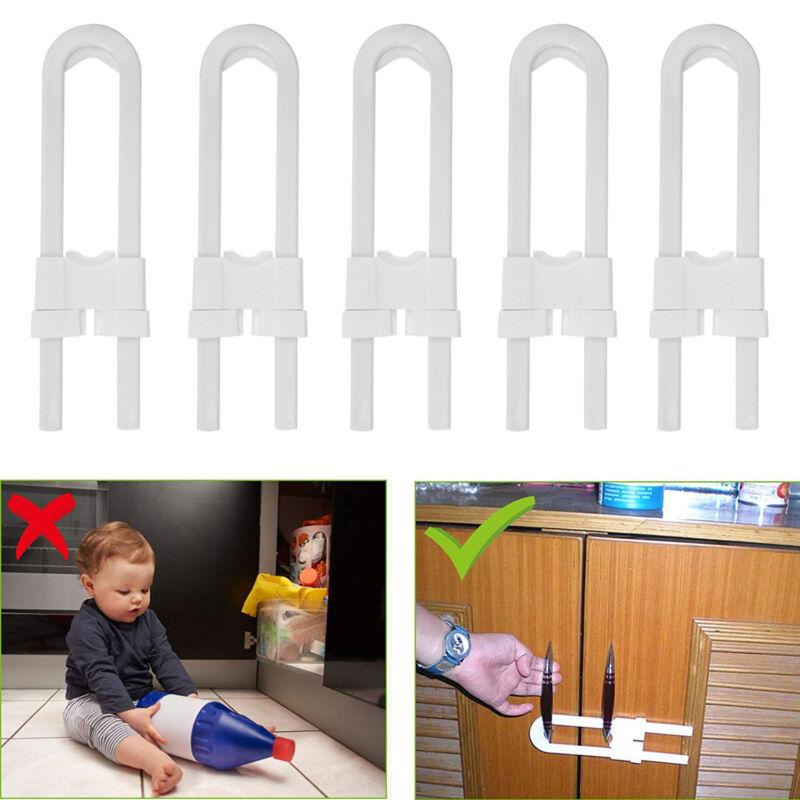 Baby Safety Lock U Shape Kids Cabinet Locks Protection Cabinet Security Locking 4