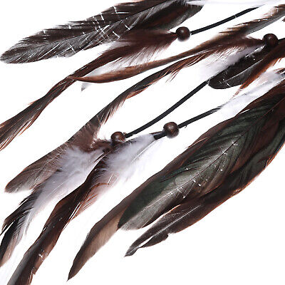 Boho Women's Long Feather Hair Scrunchies Weaving Hair Rope Rubber Band Ponytail 6