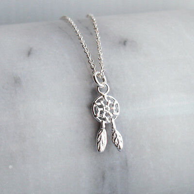 925 Sterling Silver  Dream Catcher Talisman Pendant Charm with Silver Curb Chain