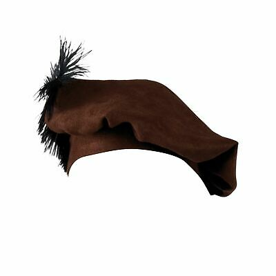 Boys Brown Medieval Friar Tuck Tudor Fancy Book Week Dress Hat Beret Feather 3