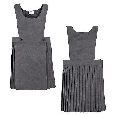 Girls Kids School Pleated Plain Bib Pinafore Dress Uniform Age 2-18 Black Grey 2