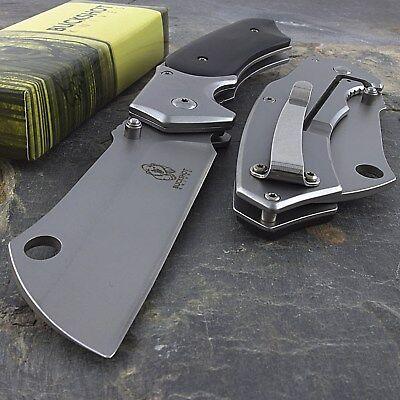 """8"""" BUCKSHOT CLEAVER BLADE STYLE WOOD SPRING ASSISTED FOLDING POCKET KNIFE Open 2"""