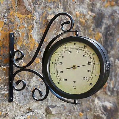 Wyegate Garden Station Clock Wall Mount Rooster Outdoor Thermometer Double Sided 3