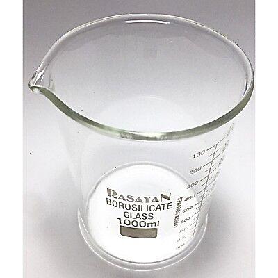 Glass BEAKER Graduated Low Form Research Grade Borosilicate, 6 sizes, 1/5/10 pcs 7