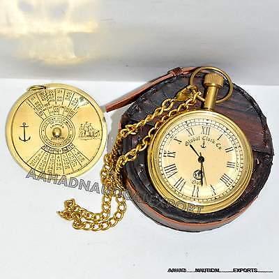 Antique Style Solid Brass Pocket Pocket Watch Working Box 100 Year Calander Case 3