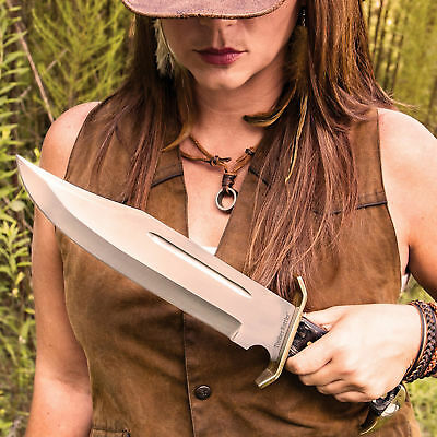 """12"""" Wood Hunting Survival Skinning Fixed Blade Knife Full Tang Army Bowie 6"""