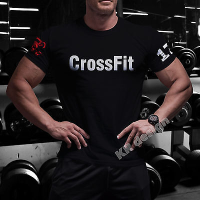 CrossFit Tshirt + YOUR NAME Training Functional Sport Workout Strength Gym WOD 2