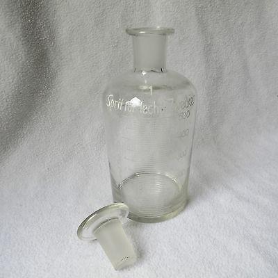 Apothekerflasche Klarglas Schliffstopfen Emaille-Skala Sprit für techn. Zwecke 9