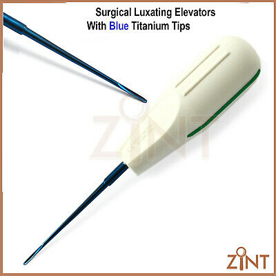 Dental Tooth Root Luxating Elevators Titanium Coated Free Leather Pouch 8PCS New 4
