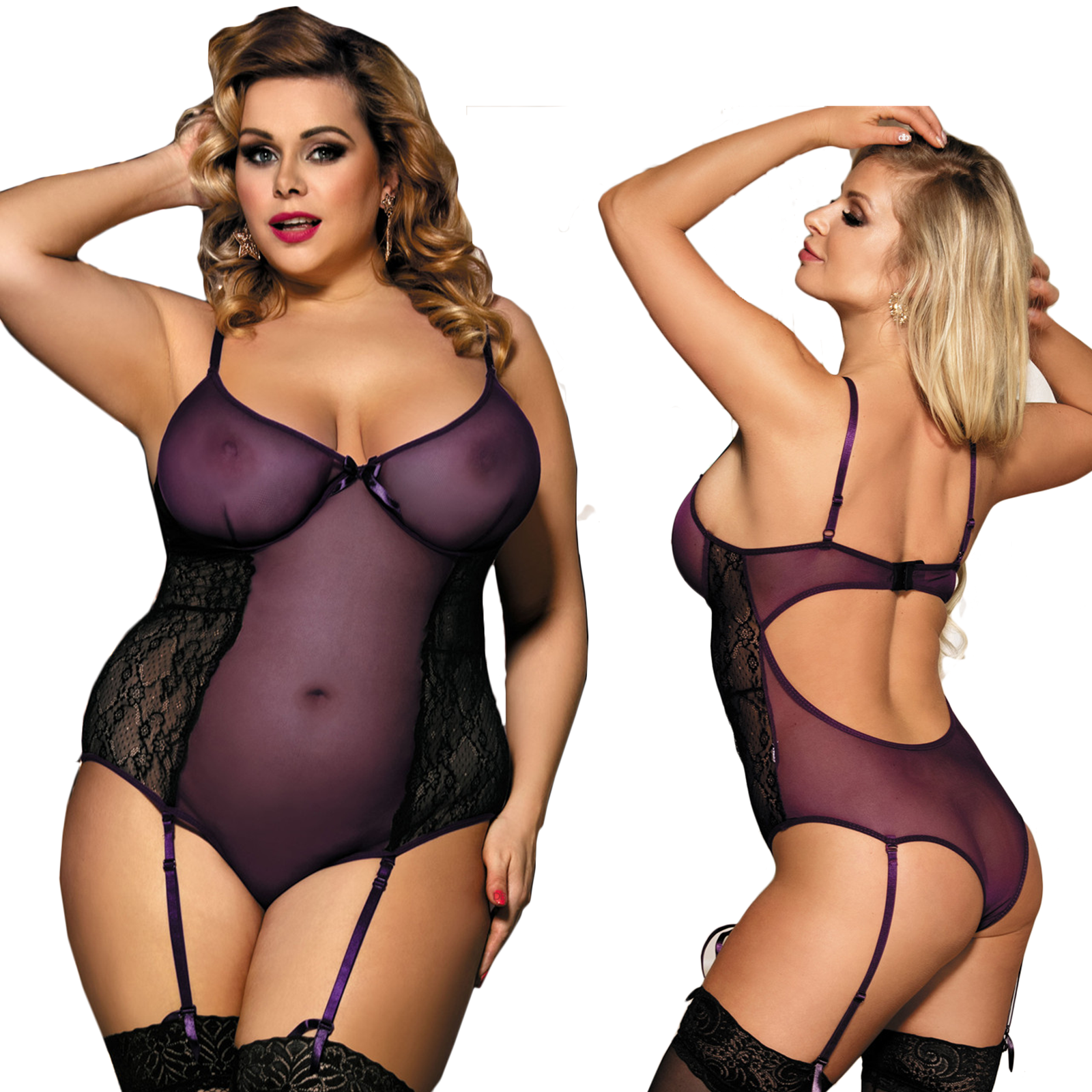 6688c0b03ca Plus Size Babydoll LINGERIE with Suspenders 10 12 14 16 18 20 22 A18 2 2 of  10 See More