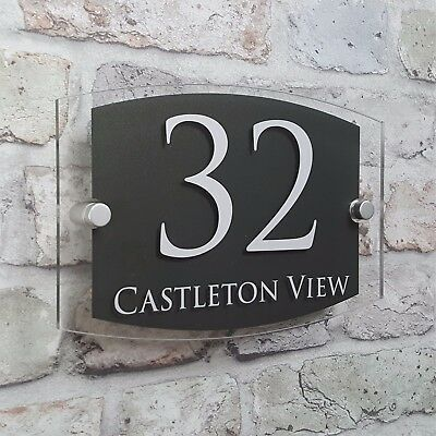de722bf871f ... Modern House Address Plaque Door Number Signs Name Plates Glass Effect  Acrylic 7