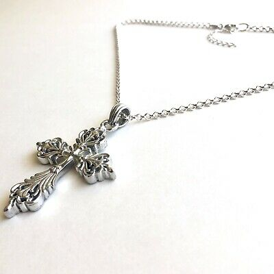Arthur Court Necklace Aluminium Scroll Cross Med 2.5in Jewelry 18 to 20in Chain 3
