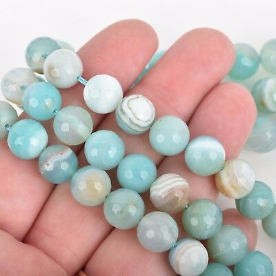 8mm Round Agate Beads, Robin's Egg BLUE Faceted Turquoise Blue AGATE gag0336 6