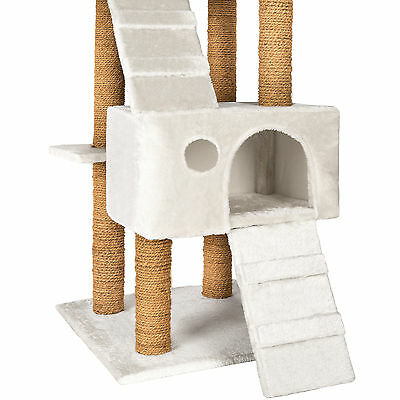 Arbre à chat griffoir grattoir jouet geant 2 grottes 169cm pour chats blanc 3