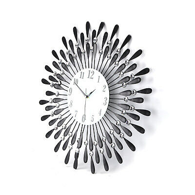 60Cm Clear Diamante Black Sunflower Metal Spiked Wall Clock Beaded Jeweled 9