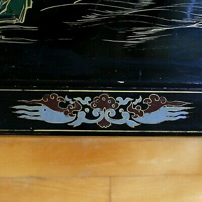 Old Tianjin Chinese Carved Inlaid Coromandel Lacquer Folding Table 12