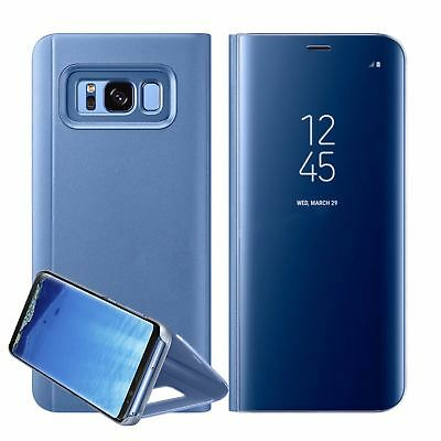 New Samsung Galaxy S7 S8+ S9 + Smart View Mirror Leather Flip Stand Case Cover 7