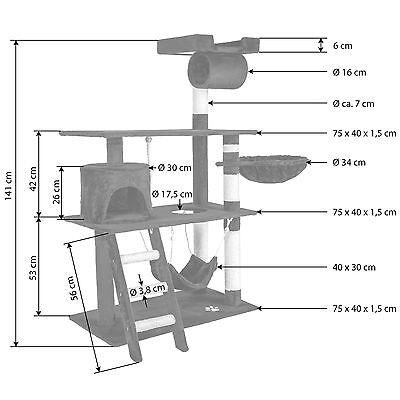Arbre à chat griffoir grattoir animaux geant avec hamac lit 141 cm hauteur noir 7