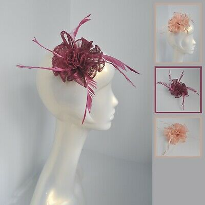 Nude/pale salmon pink/raspberry pink/purple sinamay feather fascinator hair clip 2