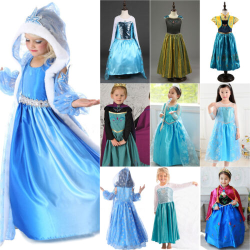c46a362cd495e Kids Girls Elsa Frozen Dress Cosplay Costume Princess Fancy Dress Rapunzel  Party 2 2 of 12 ...