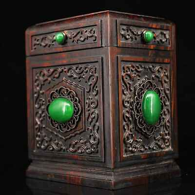 Collect Chinese Old Boxwood Mosaic Jade Hand-Carved Noble Rare Royal Storage Box 2