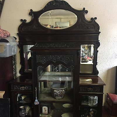 STUNNING MIRROR BACKED EMPIRE CABINET CARVED GLASS DISPLAY 7ft ANTIQUE 9