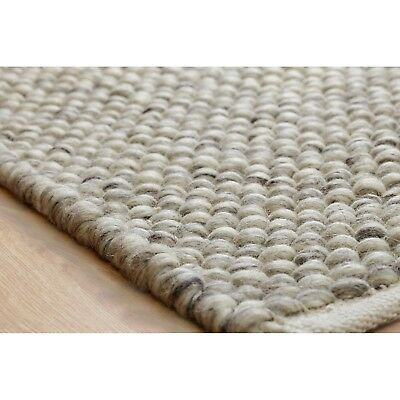Small - Large Thick Light Grey Pebbles Bobbles Bobbly 100% Wool 3D Rug Clearance 3