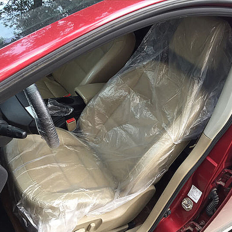 Plastic Seat Covers >> 100pcs Disposable Plastic Car Seat Covers Vehicle Protectors